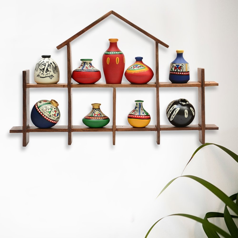 ExclusiveLane 9 Terracotta Warli Handpainted Pots With Sheesham Wooden Hut Frame Wall Hanging - Indian decorative items for home Gift Item wooden wall art decor Decorative Shelve Vases Home Décor