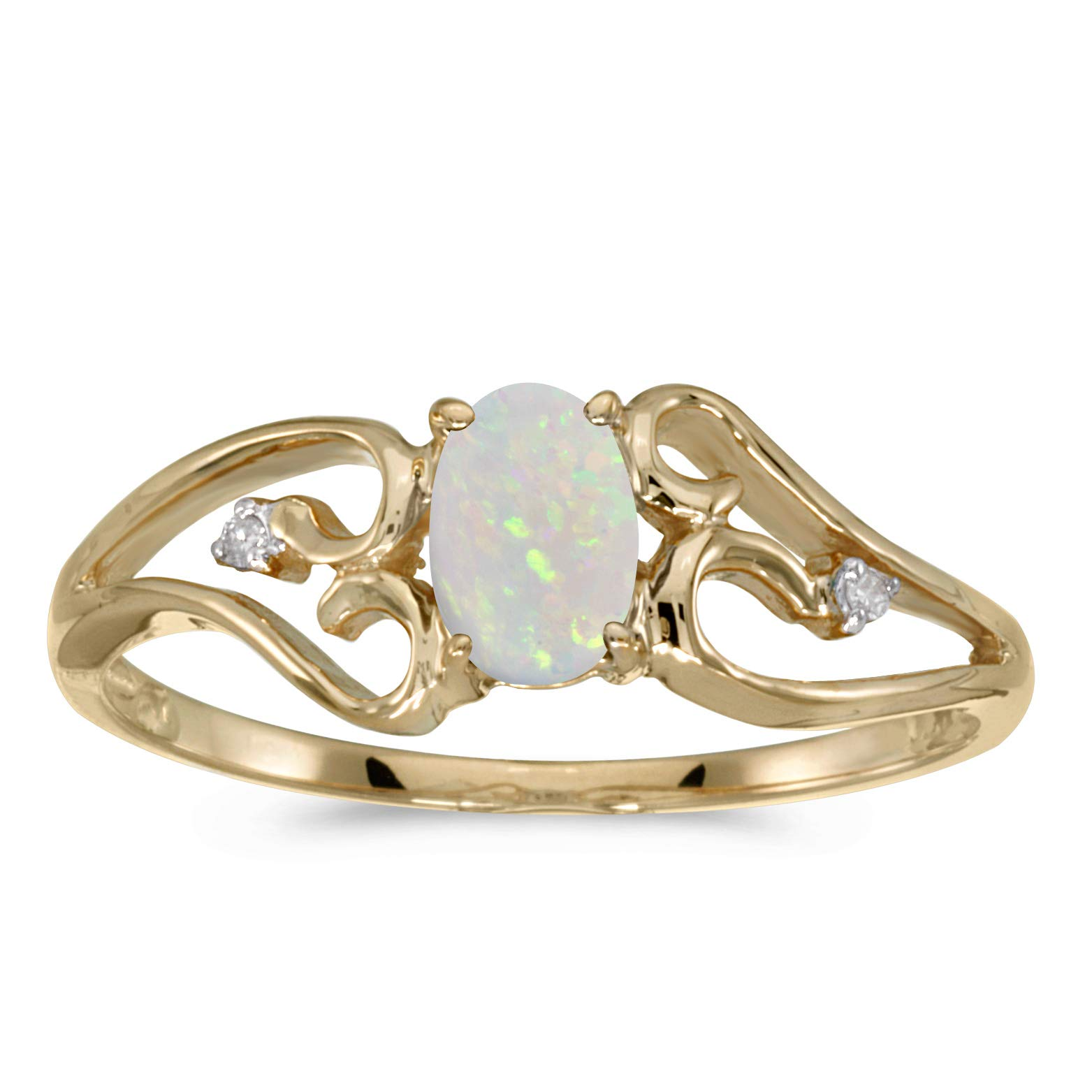 10k Yellow Gold Oval Opal And Diamond Ring (Size 7.5)