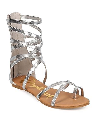 35ac209e96 Women Metallic Criss Cross Toe Ring Zip Gladiator Sandal EE14 - Silver  (Size: 6.0