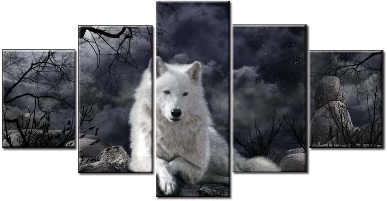 HAOSHUNDA 5 Pieces The White Wolf Wall Art Decor Poster Painting On Canvas Print Pictures Wolves in Forest in Winter Picture for Home Decoration Living Room Artwork (12x20x2,12x28inx2,12x32inx1)