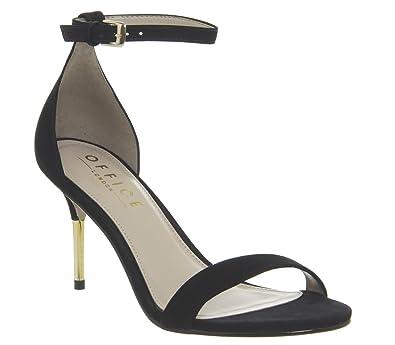 6d65fc3e4ed Office Motive- Two Part Cigarette Heel Sandal Black Nubuck - 3 UK