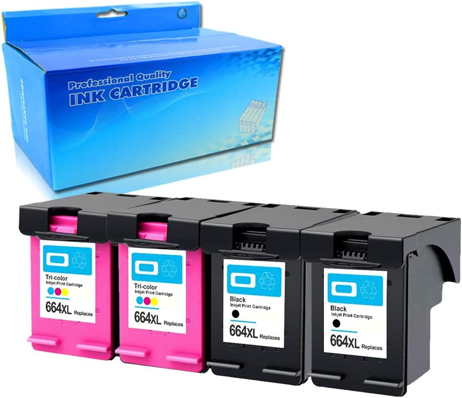 Tyjtyrjty 4X (2Black,2Tri-Color) Compatible for Ink Cartridge 664 XL for hp 664 Cartridge for HP DeskJet 1115 2135 3635 1118 2138 3636 3638 4536 4676 for hp664