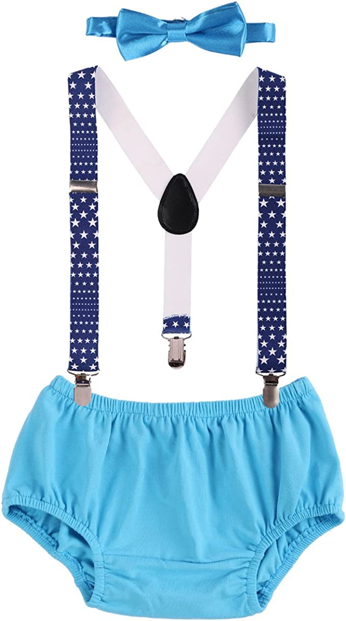 Newborn Baby Boys Toddlers Cake Smash Outfit Shorts Bloomers Bowtie adjustable Elastic Y Back Suspenders Photo Props Children Kids Unisex Braces 3pcs Set