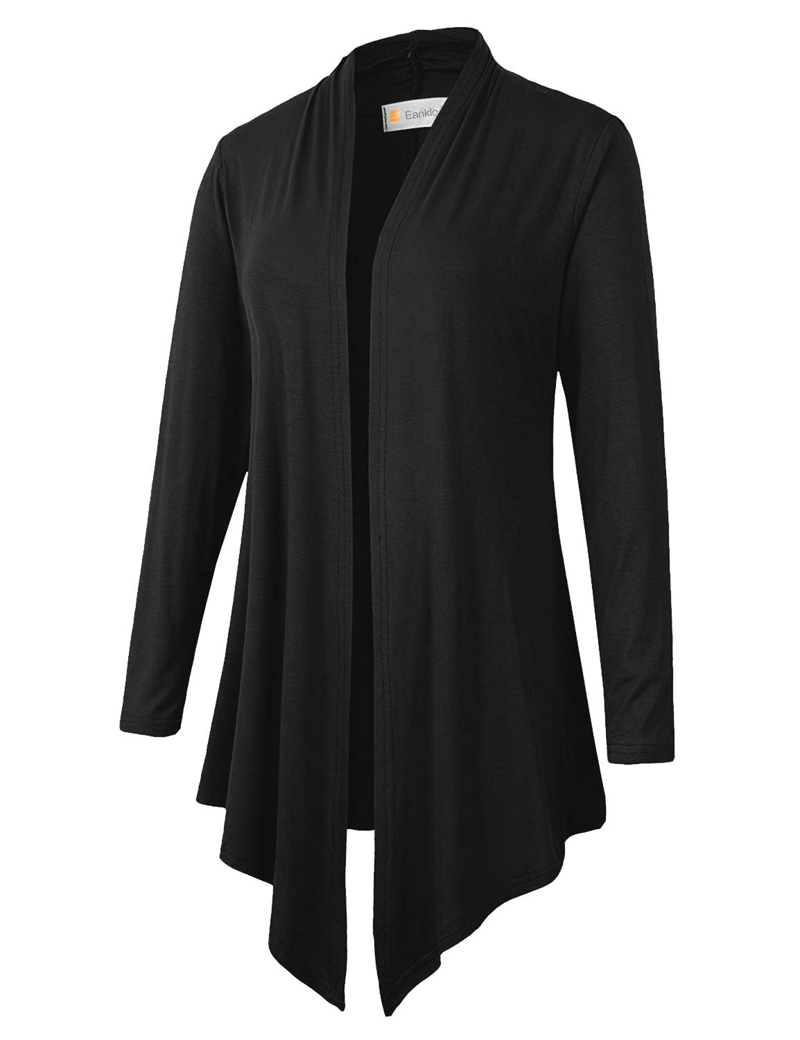 Eanklosco Women\'s Long Sleeve Drape Open-Front Cardigan Light Weight Irregular Hem Casual Tops (S, Black)