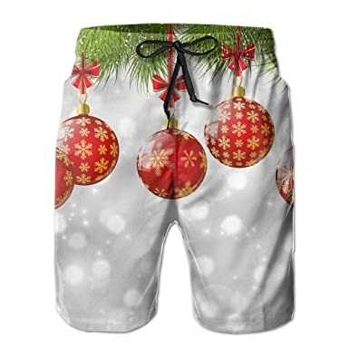 cb2416e0c8 Mens Summer Surf Quick Dry Swim Trunks - Red Balls Board Shorts Bathing  Suit with Side