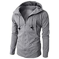 Kobay Hommes Automne Hiver Manches Longues Sport Zipper Hoodie Pull Blouse Tops