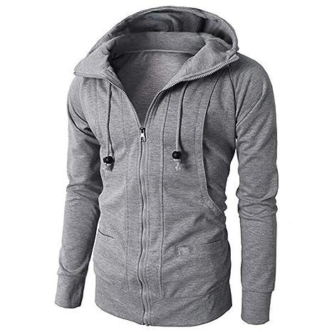 LILICAT suéter Casual con Cremallera de vellón Deportivo, Moda Hombre Otoño Invierno Manga Larga Sudadera