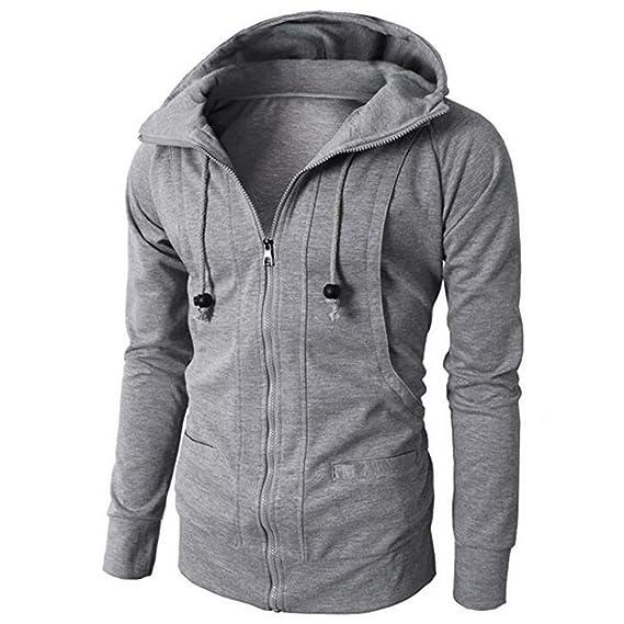 Amazon.com: WM & MW Mens Winter Long Sleeve Solid Casual Sport Zipper Drawstring Hooded Jacket Sweatshirt Coat Outwear: Clothing