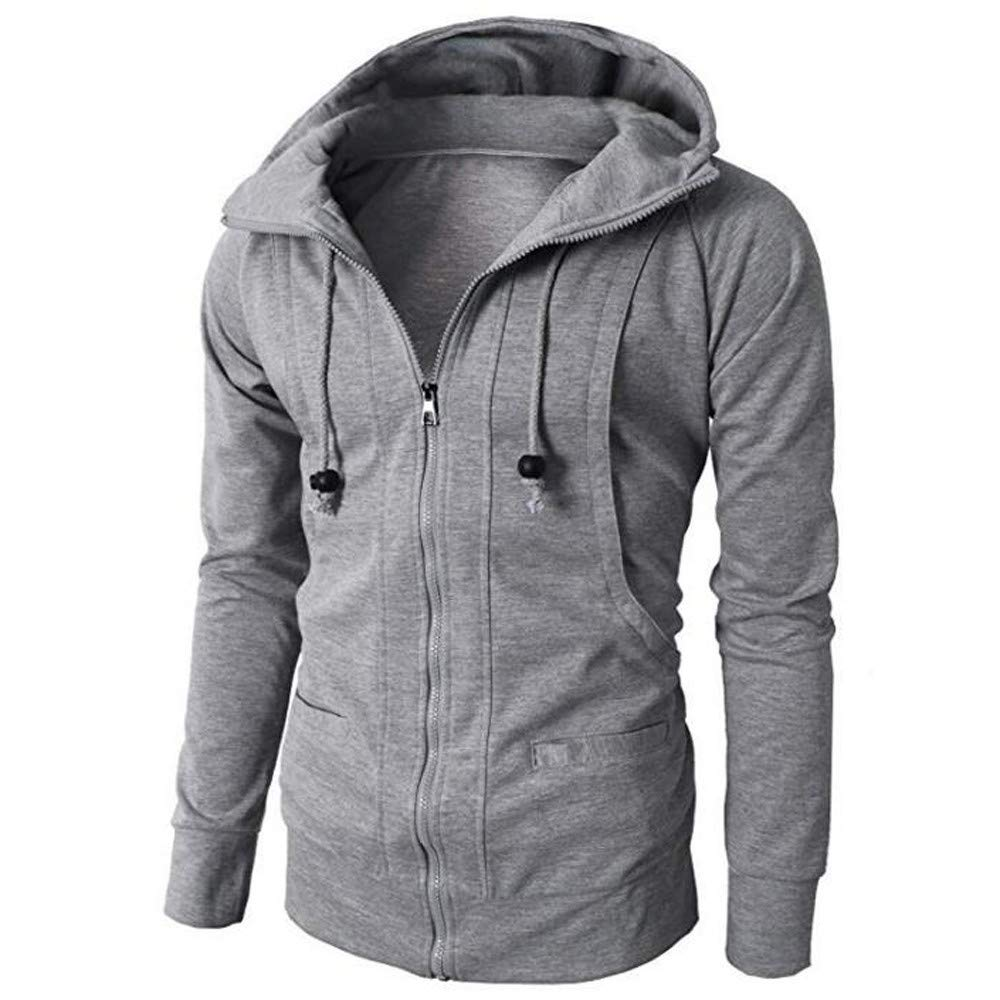 WOCACHI Mens Hoodies Zipper Solid Jacket Pullover Hooded Outerwear Slim Coat WOCACHI-180906