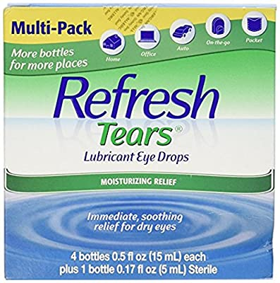 Refresh Tears Lubricant Eye Drops (Four Bottles, 15ml Each and One 5ml Bottle)