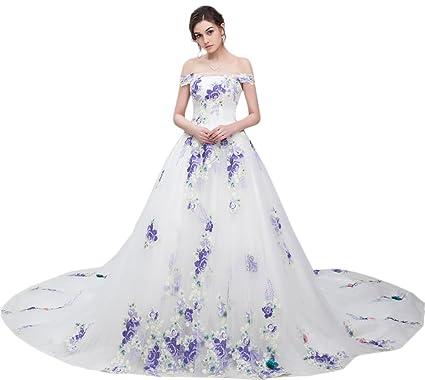 d700fc1e573 Maricopyjam Women s Embroidery Flower Long Quince Prom Dress Drop Shoulder  Bateau with Chapel Train As Picture