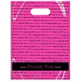 "9"" x 12"" ""Thank You"" Die Cut Handle Plastic Bags 50/cs (Pink)"