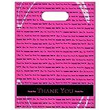 "Arts & Crafts : 9"" x 12"" ""Thank You"" Die Cut Handle Plastic Bags 50/cs (Pink)"