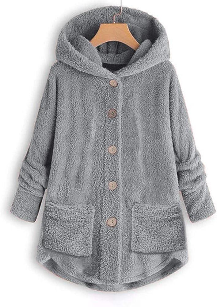 Womens Winter Teddy Bear Pocket Fluffy Coat Fleece Fur Jacket Outerwear Hoodies