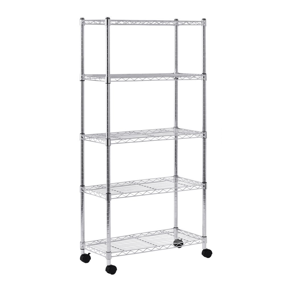 Sandusky MWS301460 Mobile Wire Shelving - 5 Tier with 2 Inch Nylon Casters, Silver (Pack of 2)