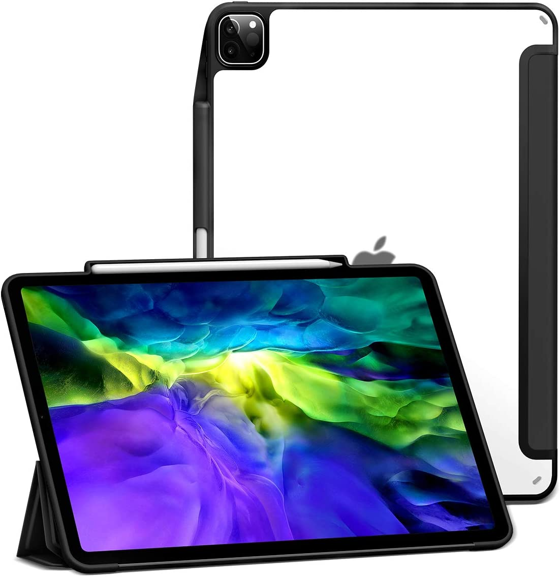 Amazon Com Xundd Case For Ipad Pro 12 9 4th Gen 2020 2018 With Pencil Holder Ultra Slim Translucent Back Shockproof Trifold Stand Auto Sleep Wake Smart Cover Support Apple Pencil 2 Pairing Charging Black
