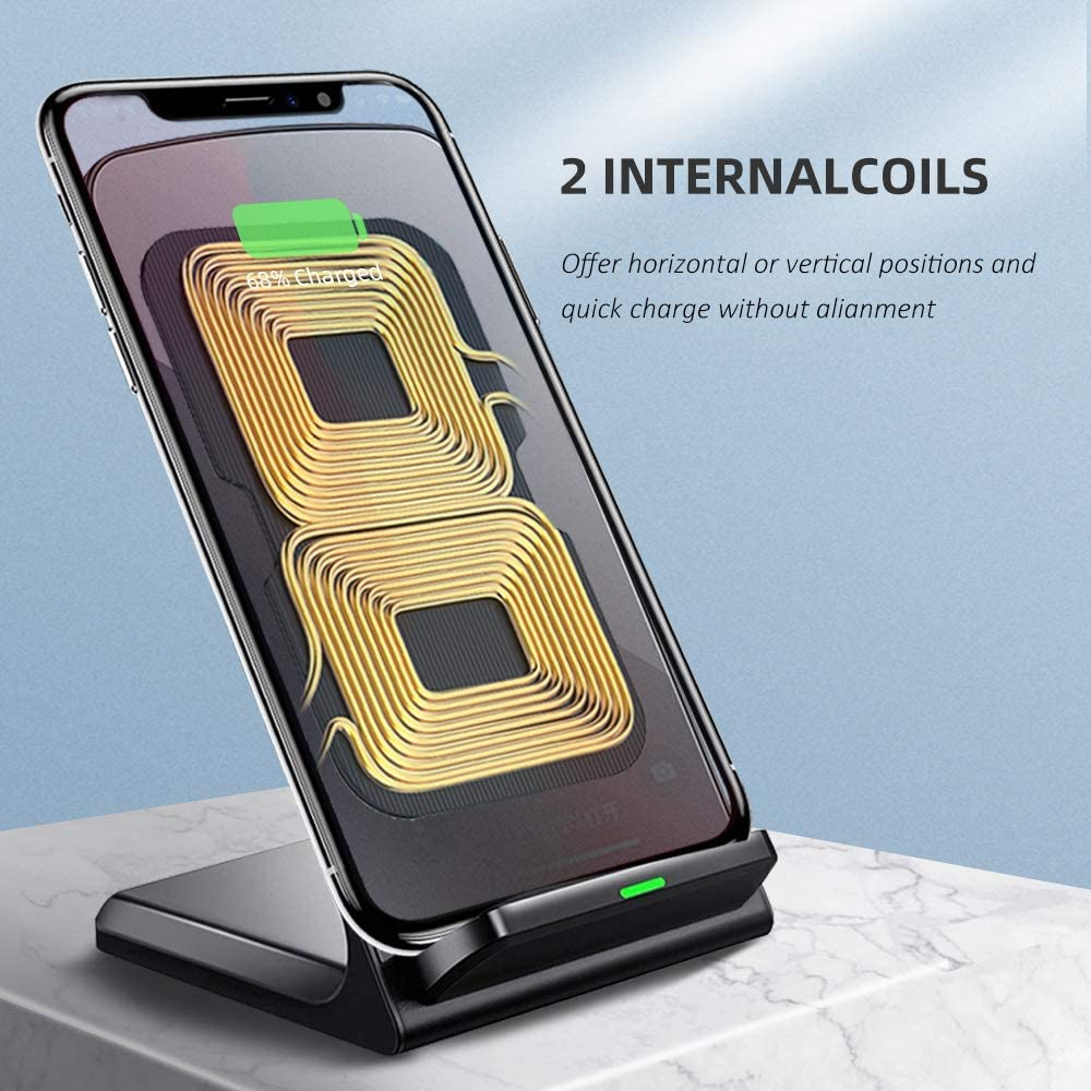 Fast Wireless Charging for iPhone X XS MAX XR 8 Plus No AC Adapter Qi-Certified Fast Charging for Galaxy S10//S9//S9+//S8//S8 Cordless Cell Phone Charger Standpvcl Wireless Charger Stand
