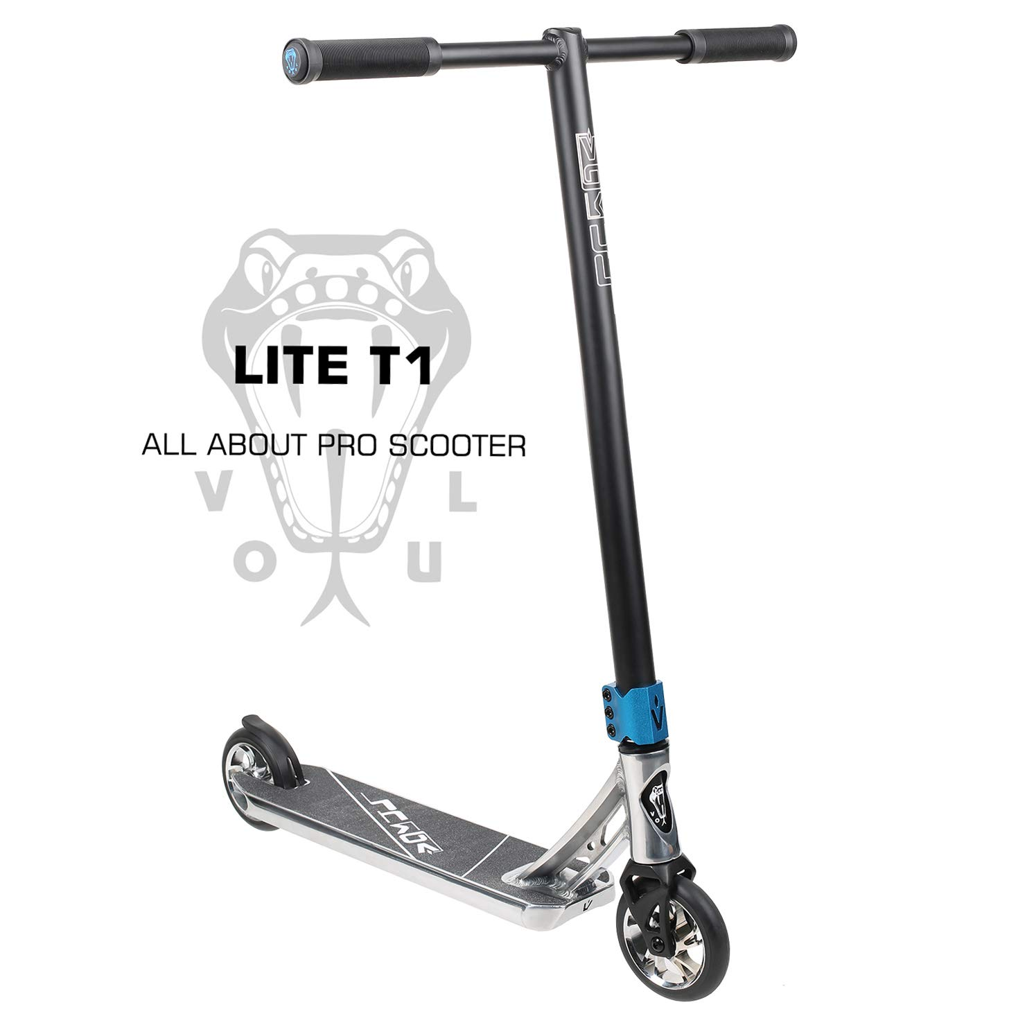 VOKUL LITE Series Complete Pro Stunt Scooter for Kids/Teens, with Reinforced Frame -Lightweight Aluminum Handlebars and 120mm Metal Core Wheels (Silver)