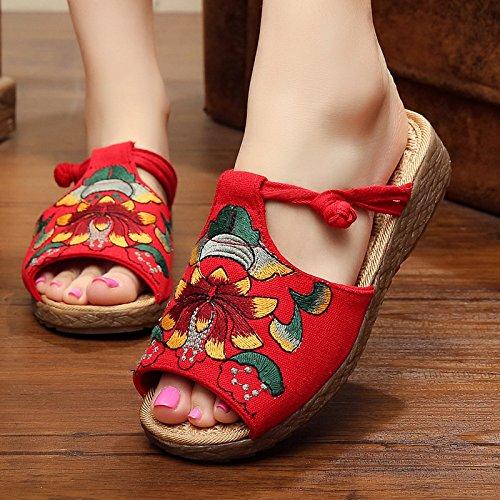 Pescado Y JIA Modelos Red Zapatos 40 Plataforma Boca Zapatillas Cuñas Zapatillas De Explosión De De De Sandalias Red Bordados Moda HONG Zapatos 40 Verano Antideslizantes De zFrzHqw
