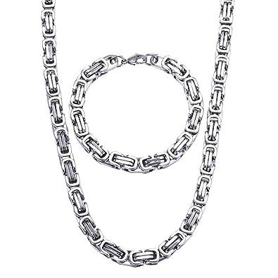 ca1c7f4430d Jewow Bijoux Acier Inoxydable Chaine Collier et Bracelet Ensemble pour les  Homme - 21.5cm Bracelet