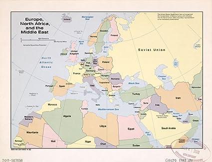 Cartina Europa E Medio Oriente.Vintage 1982 Mappa Dell Europa North Africa E Il Medio Oriente Emisfero Orientale Europa Medio Oriente Nord Africa Amazon It Casa E Cucina