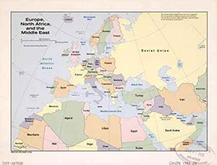 photo regarding Printable Map of Middle East titled : Classic 1982 Map of Europe, North Africa, and
