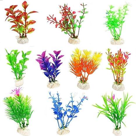 Depory 10 Piezas de plástico simulado Acuario Tanque de Peces Tortuga paisajismo decoración Falso Plantas acuáticas