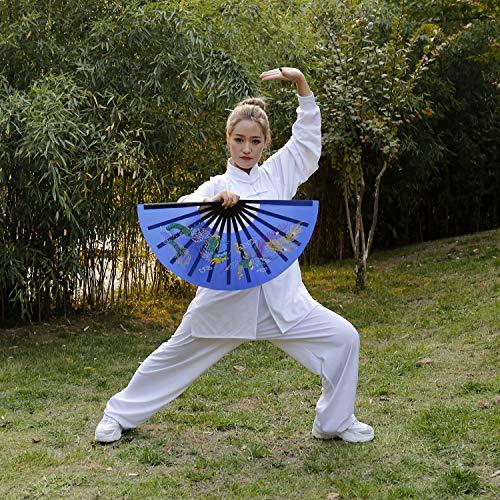 - 34CM/13.39〃 Dragon&PhoenixSingle-Sided Fan/Boutique Bamboo Bone Fan/Tai chi Fan/Fighting Fan/Martial Arts Fan/Large Hand Folding Polyester Silk Fan for Performance/Dance/Fighting/Gift Fan (Blue)