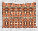 Lunarable Native American Tapestry, Retro Style Composition with Chevron Motifs Geometrical Mexican Peruvian, Wall Hanging for Bedroom Living Room Dorm, 80 W X 60 L inches, Multicolor