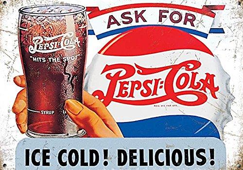 Pepsi Cola Ice Cold Delicious Cartel de Chapa Placa metal ...