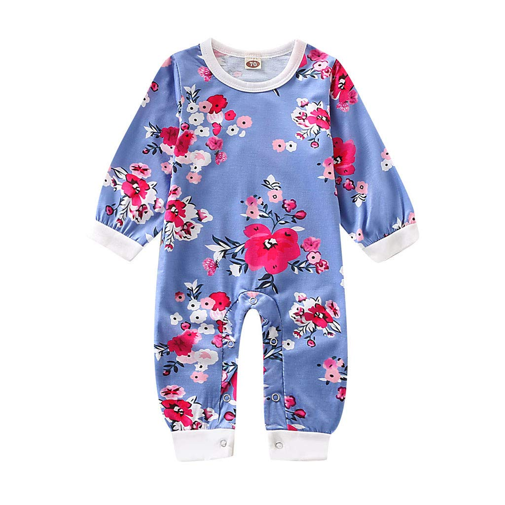 Hattfart Baby Jumpsuit Infant Bodysuit Toddler Long Sleeve Cotton Romper Kids Boy Flower Print Outfits Clothes