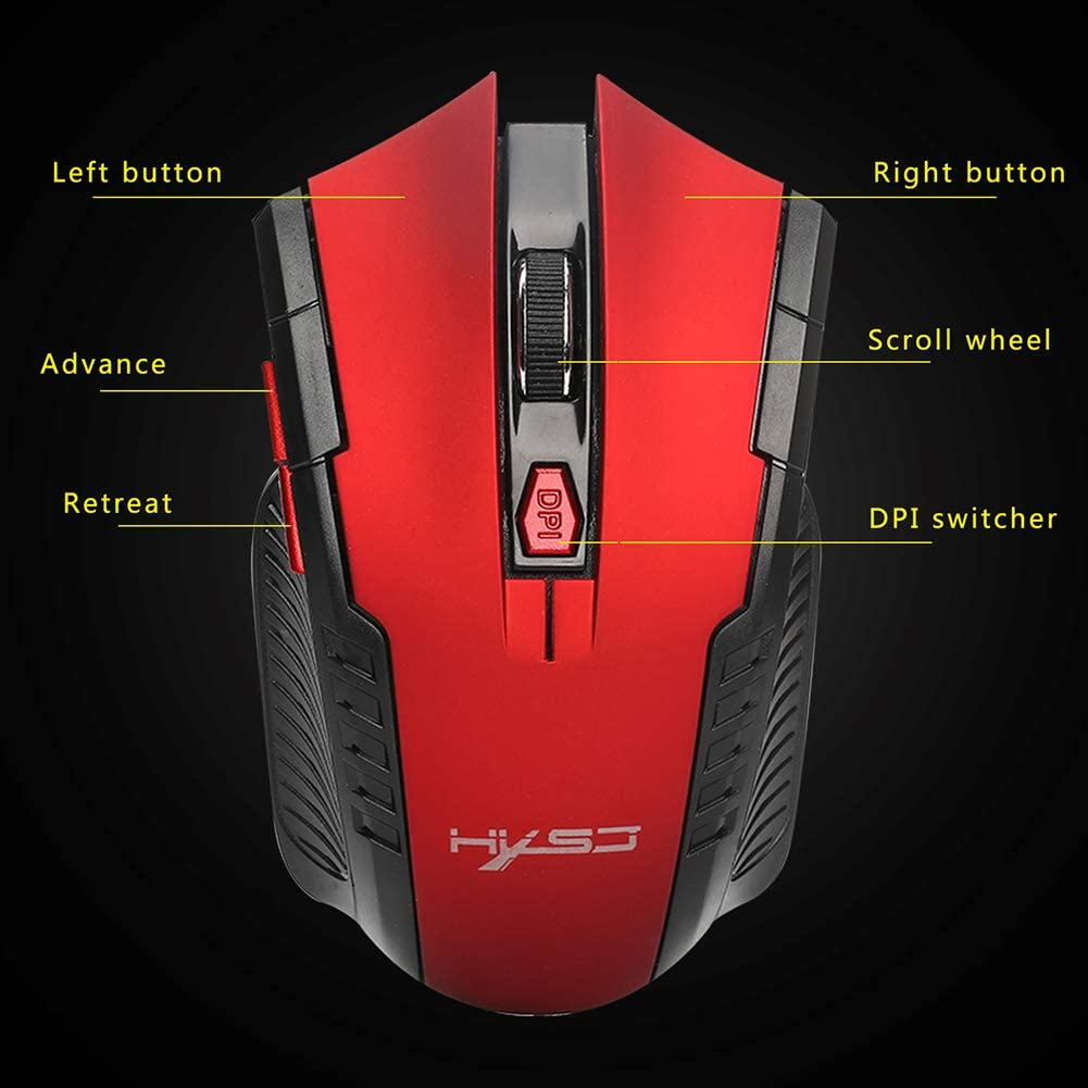 XZYP Wireless Mouse 2.4GHz Wireless Ergonomic Optical Mouse with 6 Buttons USB Nano Receiver for Game