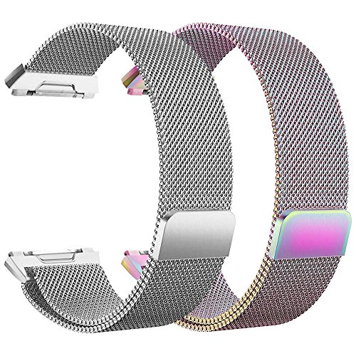hooroor Sport Loop Bands Compatible with Fit bit Ionic Smart Watch Small Large, Breathable Comfortable Adjustable Closure Wrist Replacement Wristbands Straps (2-Pack Silver+Colorful, Large)