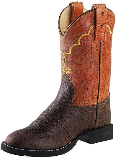 Old West Orange//Brown Kids Boys Leather Western Cowboy Boots