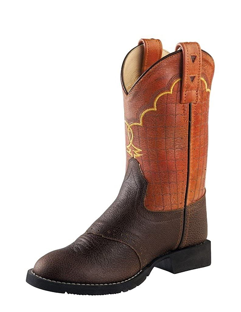 Cw2522 Old West Boys and Orange Western Boot Round Toe