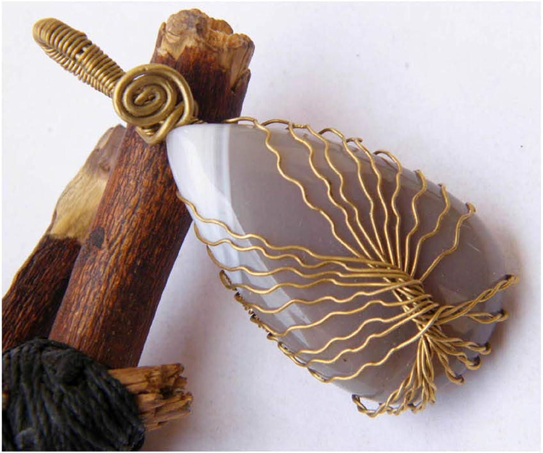 Tree of Life Pendant LA-5339 Designer Handmade Pendant Thebestjewellery Botswana Agate Pendant Brass Wire Wrapped Pendant