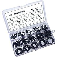 200 stuks 15 maten rubberen ringen - zwarte nitril O-ringen, geassorteerde rubberen grommets keukenkraan wasmachine voor…