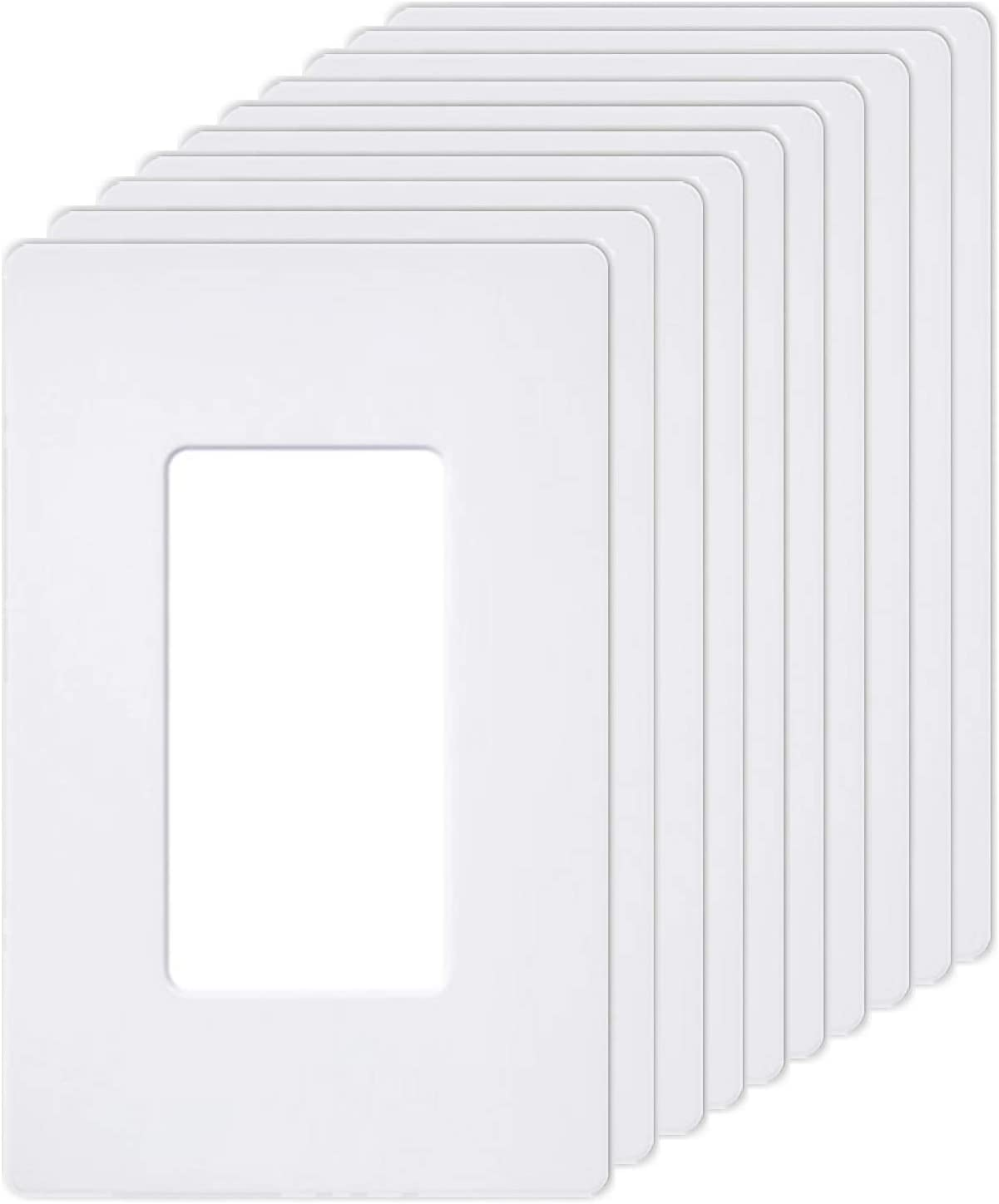 """[10 Pack] BESTTEN 1-Gang Screwless Wall Plate, USWP6 Snow White Series, Decorator Outlet Cover, 4.69"""" H x 2.91"""" L, for Decor Switch, Dimmer, GFCI, USB Receptacle, UL Listed"""