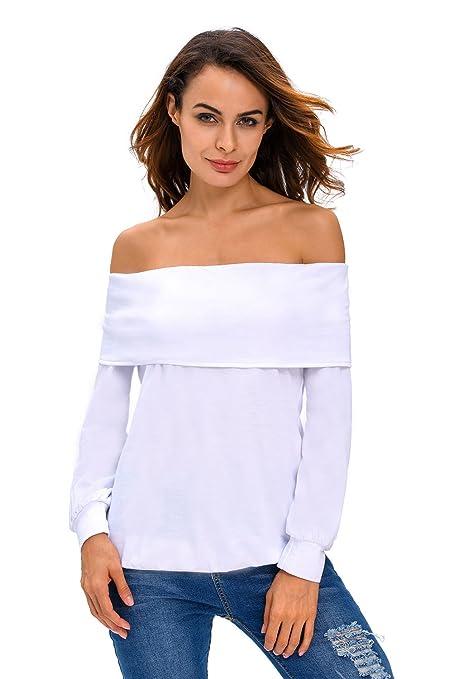 New Ladies White Off Shoulder Long Sleeve Top Sweatshirt