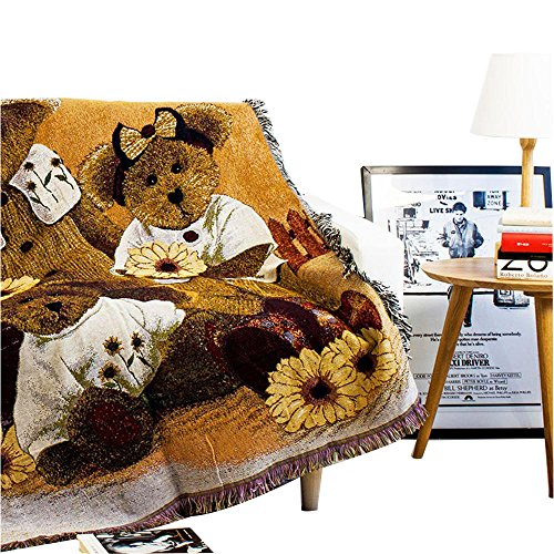 MR FANTASY Decorative Cotton Woven Tapestry Throw Blanket with Fringes Knitted Chenille Blanket for Couch 49X59in (Teddy Bears) - Woven Teddy Bear Blanket Throw
