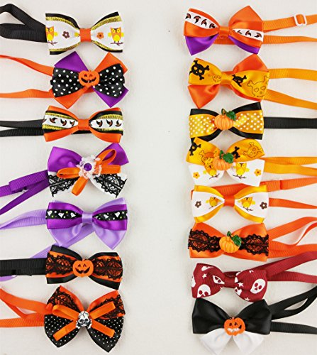 Hixixi 15pcs/pack Dog Cat Puppy Bow Ties Bowties Collar for Halloween Festival Pet Ties Dog Grooming (Bow Tie Halloween Costumes)