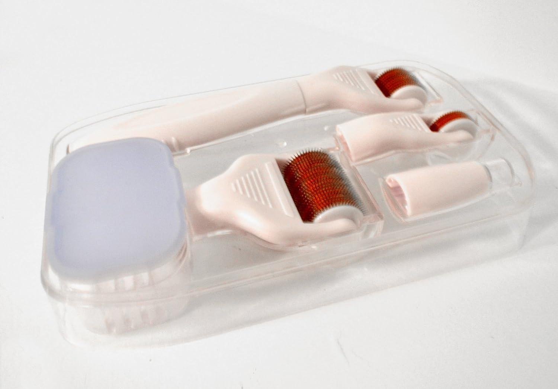 DERMA-CIT® - Juego de rodillos con microagujas (12, 240, 600 ó 1200 agujas) de titanio para el cuidado de la piel 5 en 1, contra las arrugas, acné, ...