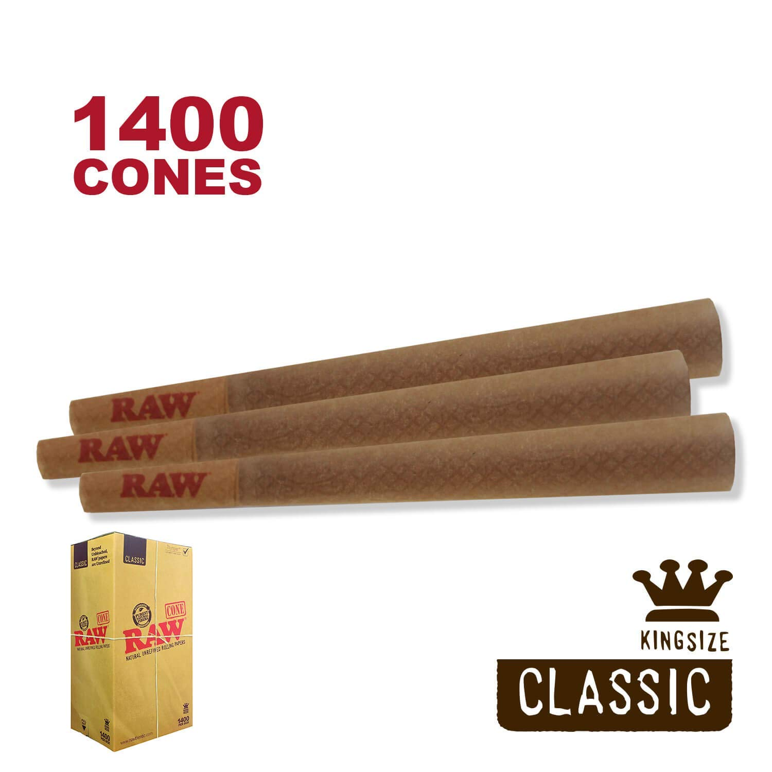 RAW 1400 Classic King Size Cones - W Gallery Scoop Sticker - RAW Box - Pure Hemp 109mm Pre Rolled Cones - 26mm Filter Tips - Natural Brown Unbleached Unrefined Rolling Papers - Bulk Pack Bundle by W Gallery