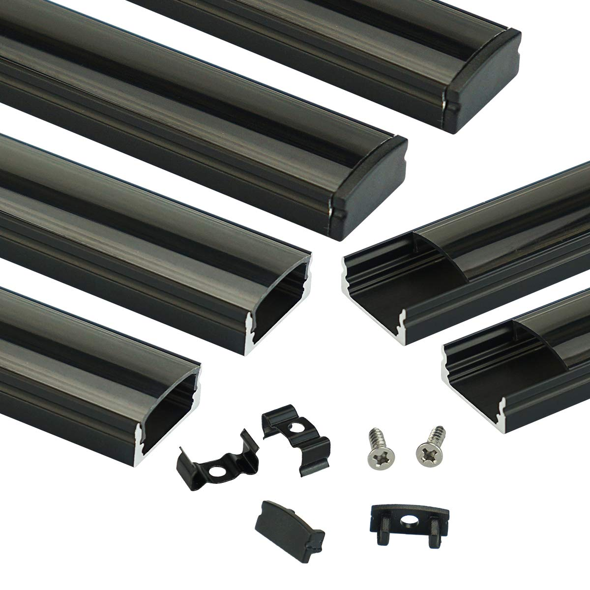 Muzata Black LED Channel System with Crystal Smoke Black Transparent Diffuser Clear Cover Lens,Aluminum Extrusion Track Housing Profile for Strip Tape Light with Video,6Pack 3.3ft/1M U1BB,Series LU1