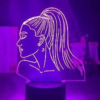 3d Nachtlampje Zanger Ariana Grande Gift Voor Fans Slaapkamer Decor Licht Led Touch Sensor Kleur Veranderende Bureaulamp…