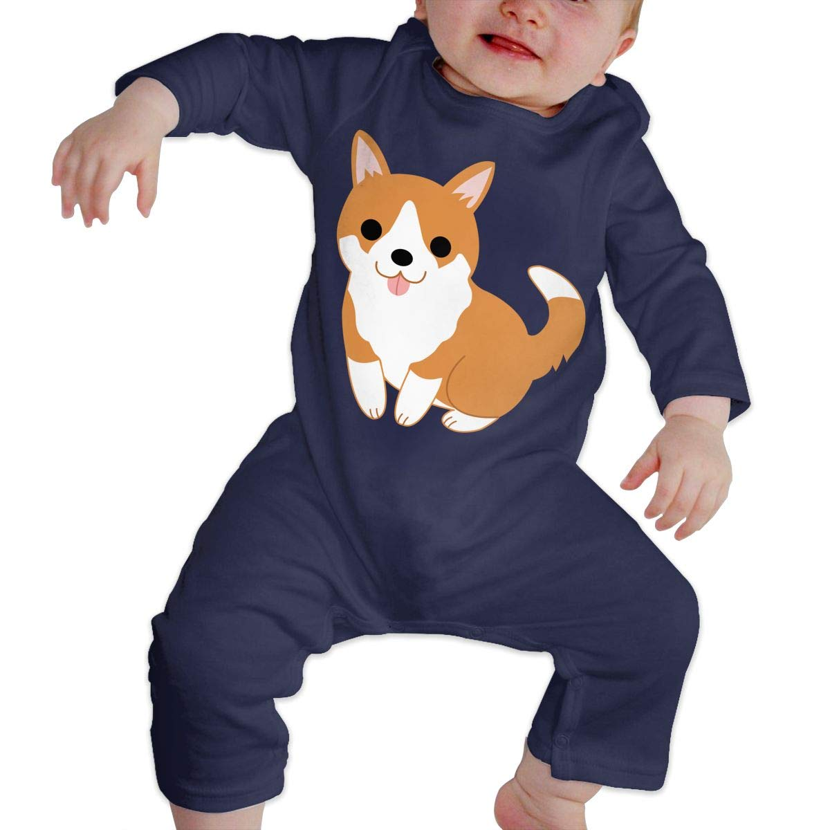 Cute Puppy Unisex Long Sleeve Baby Gown Baby Bodysuit Unionsuit Footed Pajamas Romper Jumpsuit