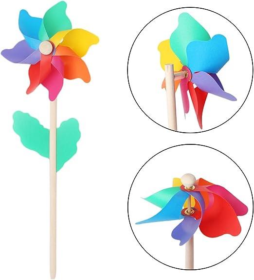Molino de viento para niños juguetes palo de madera césped jardín adornos colorido exterior Spinner: Amazon.es: Hogar