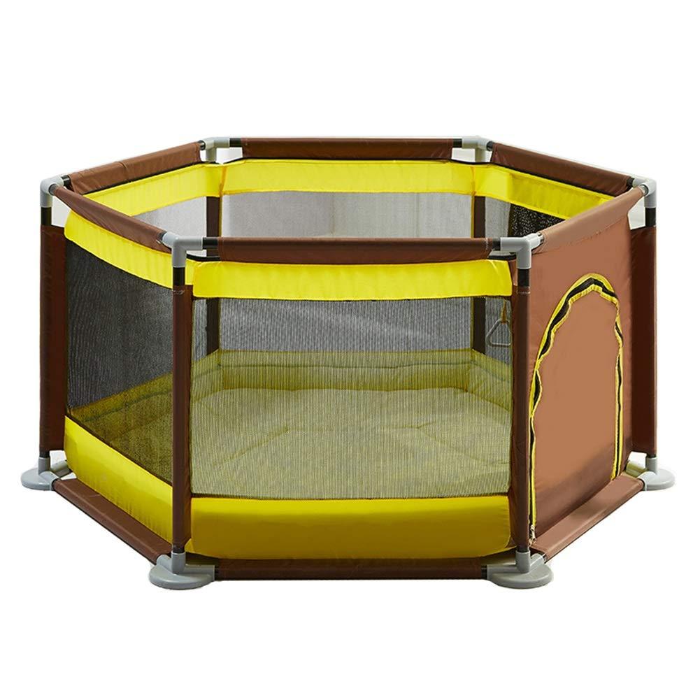 ベビーサークル, ポータブルプラスチック製ベビープレイペン、クロールマットとゲート、幼児用6パネル安全プレイヤード、キッズのゲームフェンス - 65cmの高さ (色 : イエロー いえろ゜)  イエロー いえろ゜ B07JWD1323