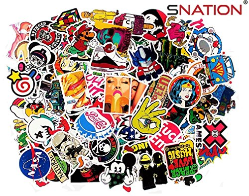 SNation 145pcs Premium Stickers Laptop Stickers HYPEBEAST skateboard stickers custom stickers Supreme Sticker Edition + FREE 25 sticker with 145 Sticker pack SNATION (100 Supreme Laptop Stickers)