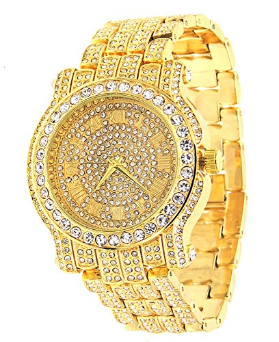 Totally Iced Out Pave Gold Tone Hip Hop Men's Bling Bing Watch Fake Rolex